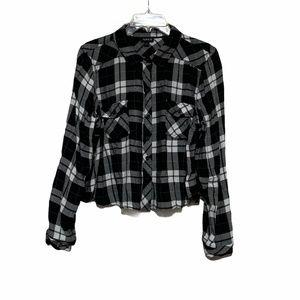 Torrid Crop Plaid Button Front Slim Fit Shirt Sz 1